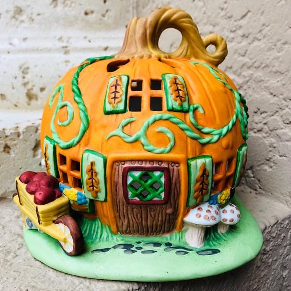 Vintage Tealight Candle Holder Pumpkin Cottage #1 Harvest Pumpkin Patch House PARTYLITE Party Lite Veggie Village Collection